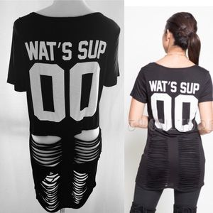 Graphic What's Sup Black Stylish Tee-Shirt